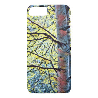 Art of Nature; Aspen trees in blues & yellows iPhone 8/7 Case