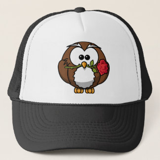 Art of Owl with red Rose Trucker Hat