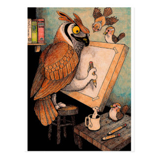 Art Owl Postcard