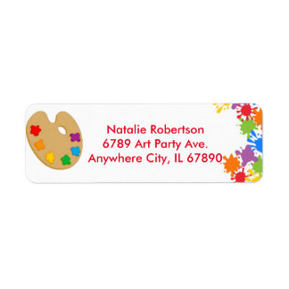 Art Paint Splash Birthday Party Address Labels