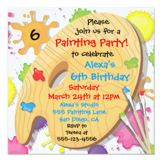 "Art Painting Birthday Party Invitations 5.25"" Square Invitation Card"