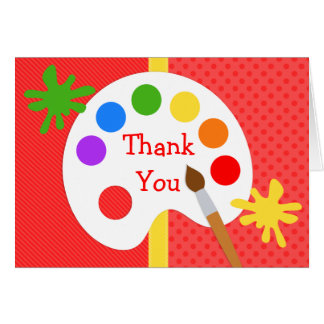 Art Painting Birthday Party Thank You Card