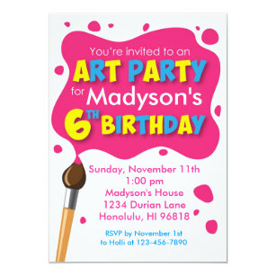 Art Party 6th Birthday Invitation