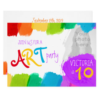 Art party painting 10th birthday party invite