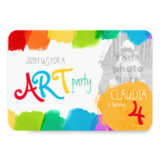 Art party painting 4th birthday party invite