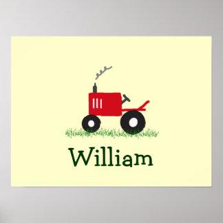 Art personnalisé de mur de tracteur : Tracteur rou Poster