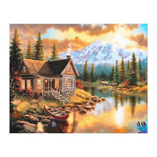 art pittoresque de toile de maison de nature impressions sur toile zazzle. Black Bedroom Furniture Sets. Home Design Ideas