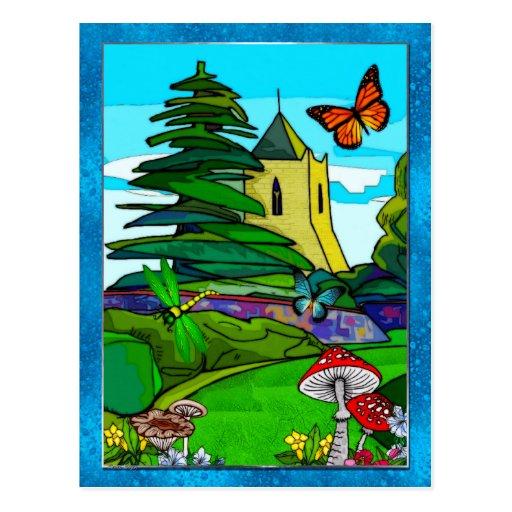 Art populaire lunatique de jardin anglais carte postale