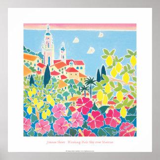 Art Poster Blushing Pink Sky over Menton
