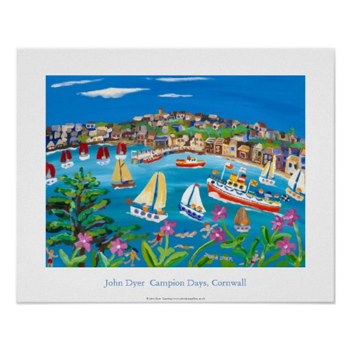 Art Poster: Campion Days, Cornwall by John Dyer