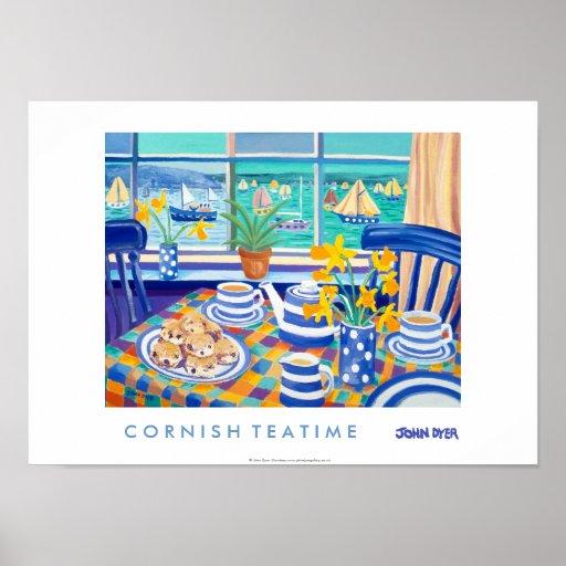 Art Poster: Cornish Tea Time. ( Cornish Blue )