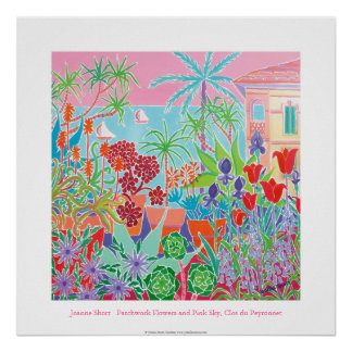 Art Poster: Patchwork Flowers & Pink Sky Poster