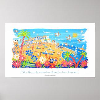 Art Poster: Summertime Days, St Ives, Cornwall Poster