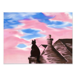 Art Print digital painting - Cat on roofs pink sky