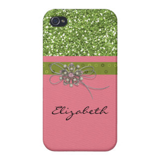 Art Print Pink Lime Glitter Deco Jewelry Element iPhone 4 Cover