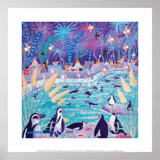 Art Print: Purple Penguin Party Poster