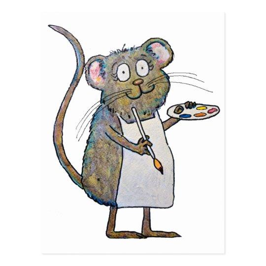 Art Rat Mouse Painter Artist Whimsical Brush Paint Postcard