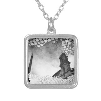 Art reflected silver plated necklace
