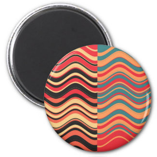 Art Retro Colorful Wave Abstract Magnet