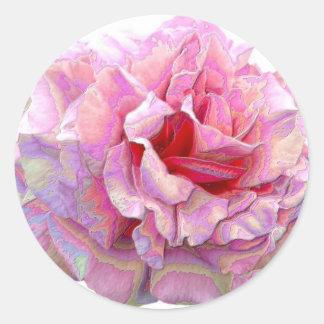Art rose autocollants ronds
