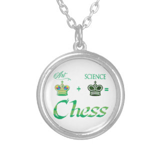 art+science=Chess Silver Plated Necklace