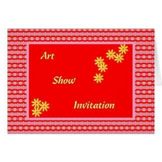 Art Show Invitation, Red, Yellow Digital Design Card