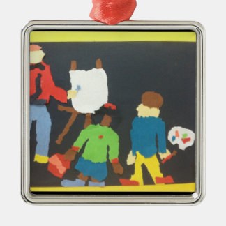 Art Students Paper Collage Ornament
