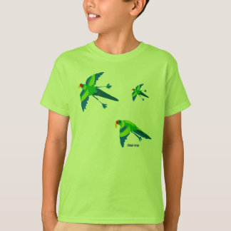 Art T-Shirt: Emerald Parrots. Green Kids Tshirt