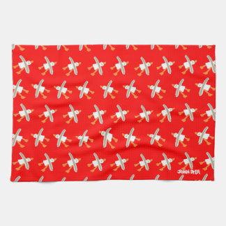 Art Tea-Towel John Dyer Seagulls Red Kitchen Towels