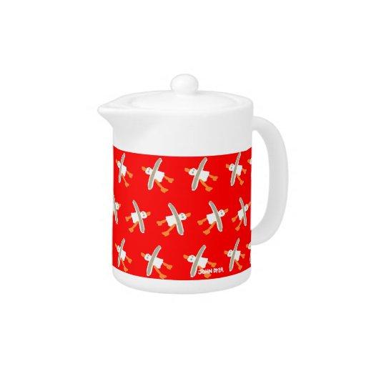Art Teapot: John Dyer Seagulls Red Design