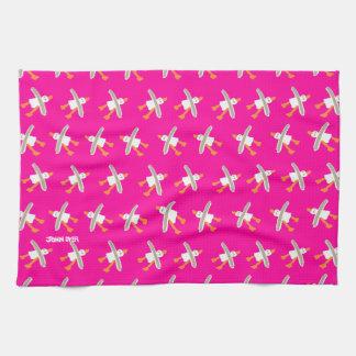 Art TeaTowel: John Dyer Seagulls, Pink Towels