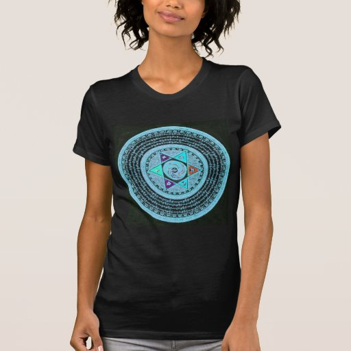 Art tibétain de mandala (turquoise et noir) t-shirt
