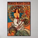 Art vintage Alfons Mucha Monaco Monte Carlo Poster