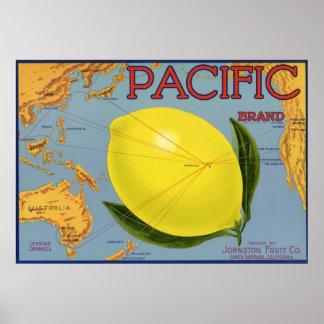 Art vintage d étiquette de caisse de fruit de citr affiche