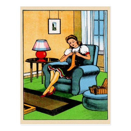 Art vintage de couture de tricotage de kitsch de l cartes postales