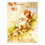 Art vintage de cupidon de carte postale de violon