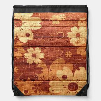 Art Vintage Flower Painting on Wood Drawstring Bag
