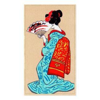 Art vintage japonais frais de portrait de geisha d cartes de visite professionnelles