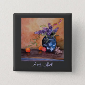 Artbyshel lilacs and bunnies 2 inch square button