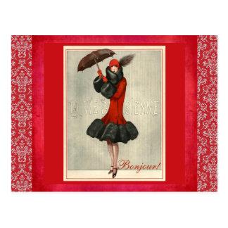 ArtDeco Red Flapper French Fashion Damask Postcard
