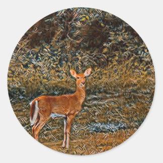 Artful Deer Classic Round Sticker