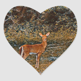 Artful Deer Heart Sticker