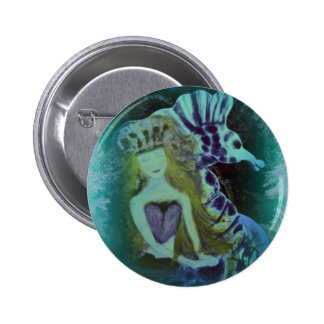 ARTful Fairy Tales Mermaid and SeaHorse 2 Inch Round Button