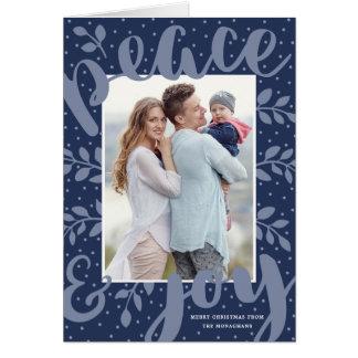 Artful Peace and Joy Holiday Greeting Card | Blue