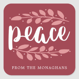 Artful Peace Personalized Holiday Stickers | Red