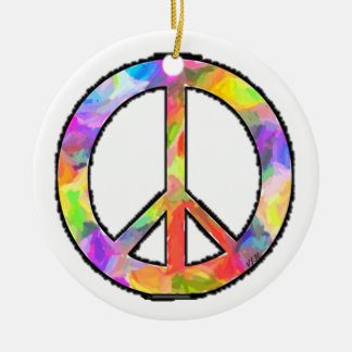 Artful Peace Round Ceramic Ornament