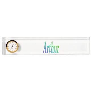 Arthur, Name, Logo, Desk Name Plate With Clock.