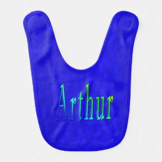 Arthur Name Logo On Blue Mosaic, Bib