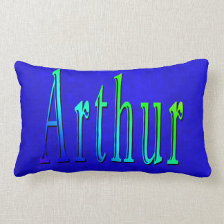Arthur Name Logo On Blue Mosaic, Lumbar Pillow