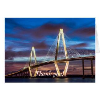 Arthur Ravenel Bridge At Night Note Card